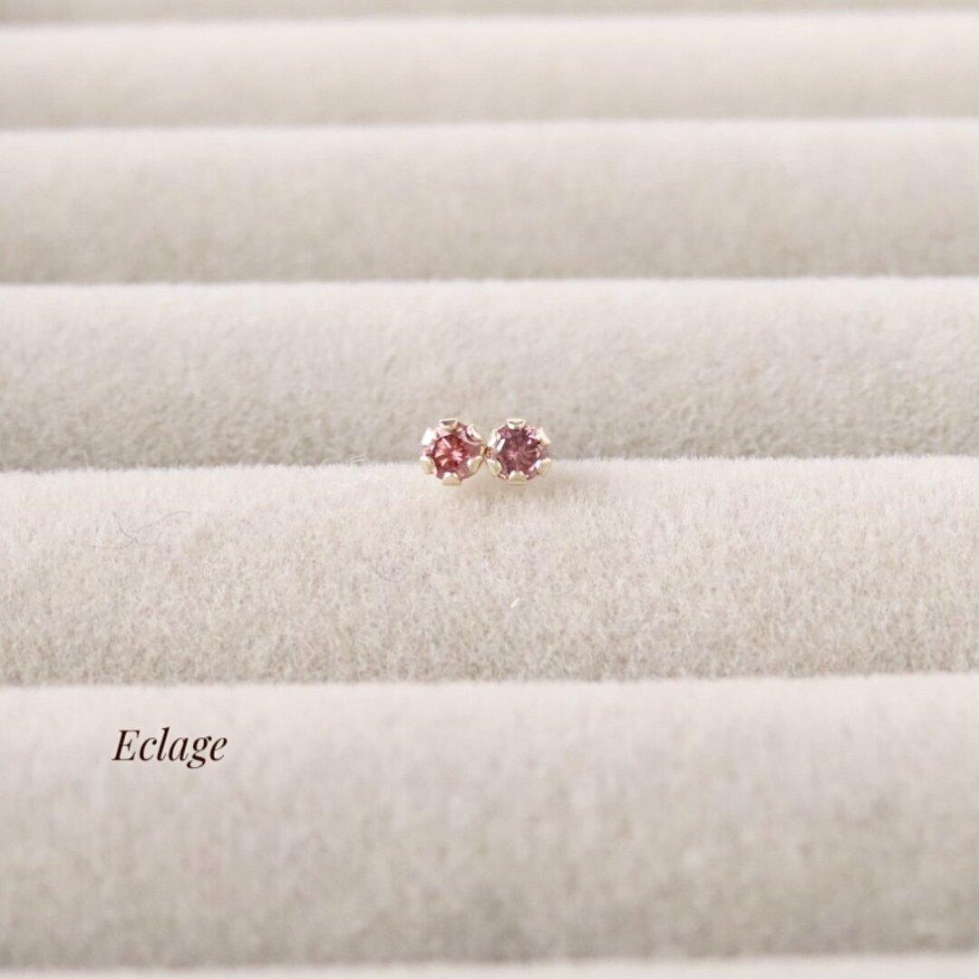 〈10K〉ピンクダイヤモンドのスタッドピアス(2mm)