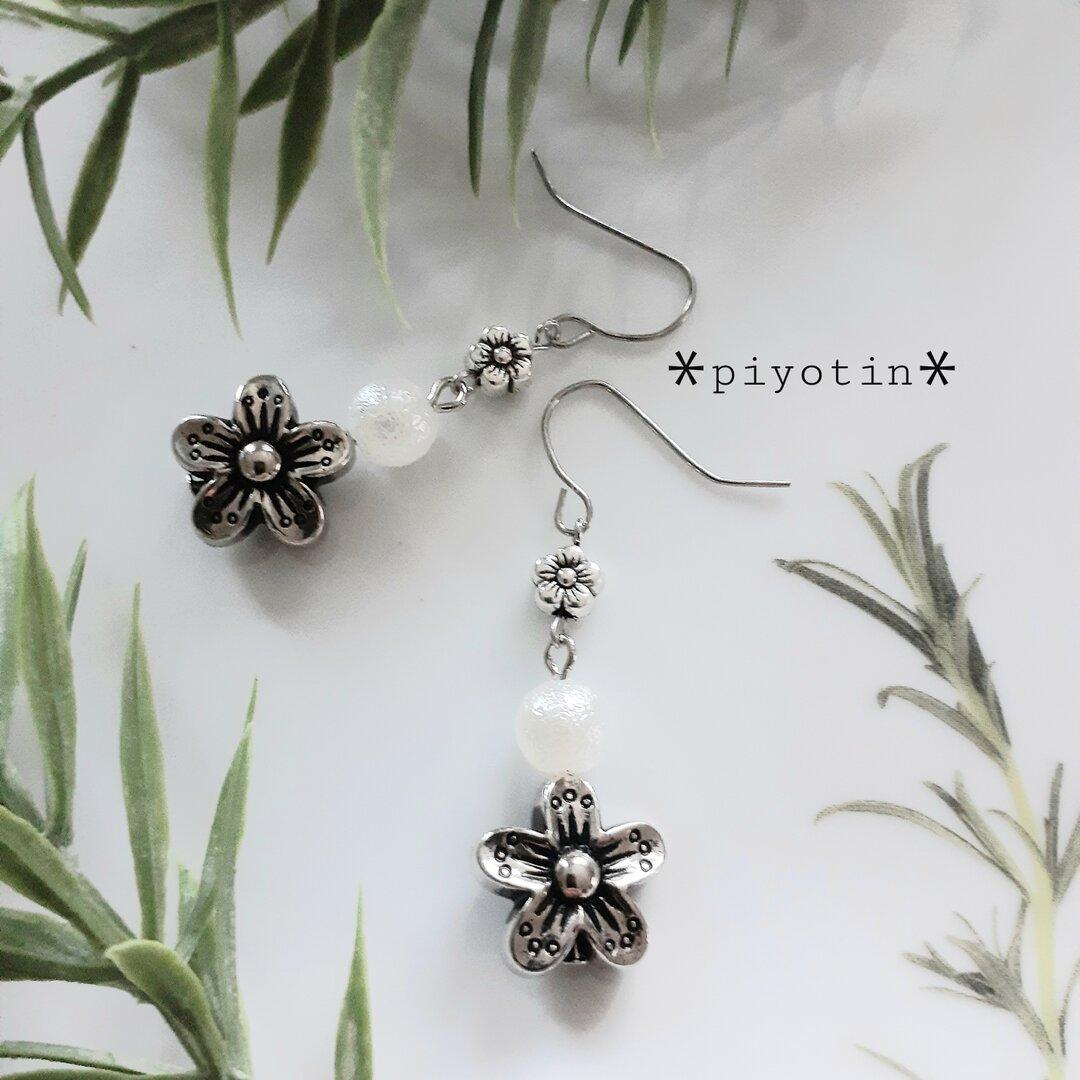 [送料無料]花&パールピアス