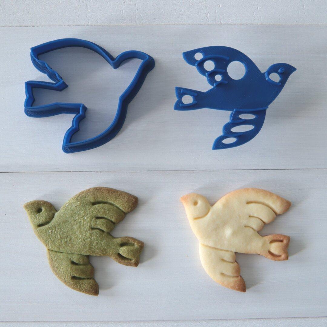 鳥(スタンプ付き)クッキー型・クッキーカッター