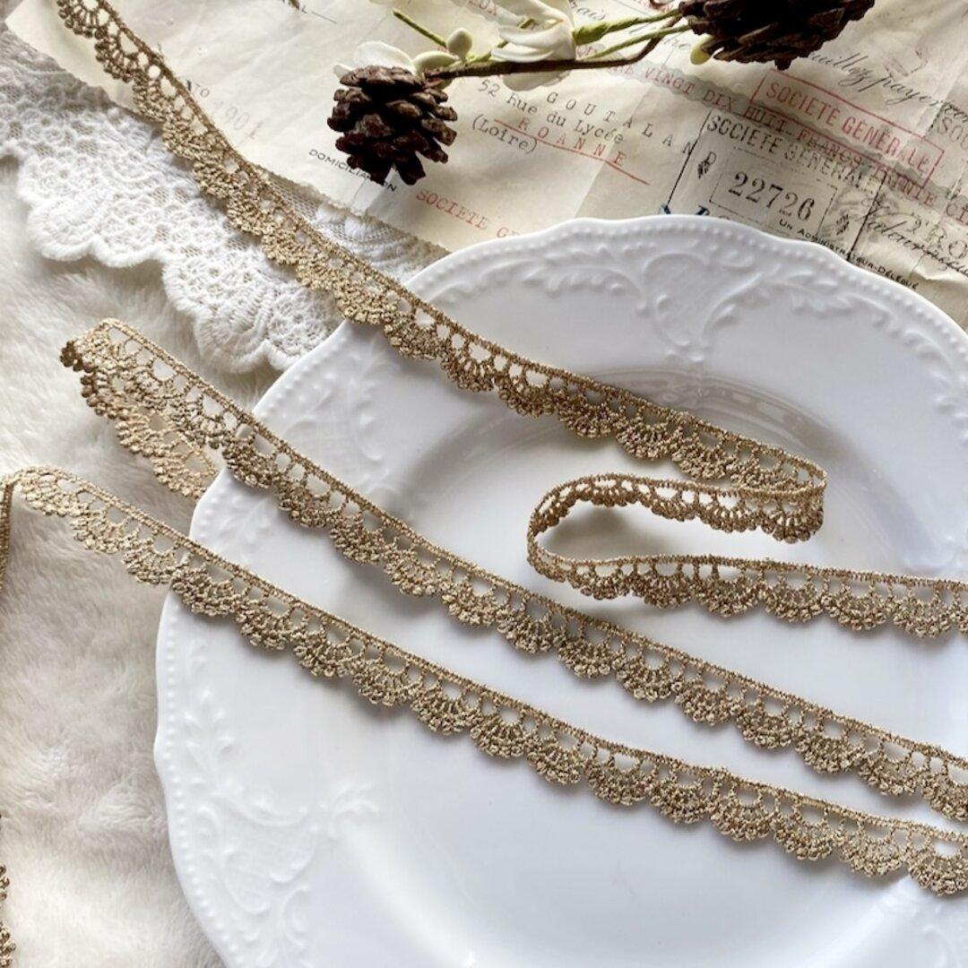 1m 豪華 ロココ調 金糸 刺繍 レース ブレード ゴールド BK210915 ハンドメイド 手芸 素材 材料