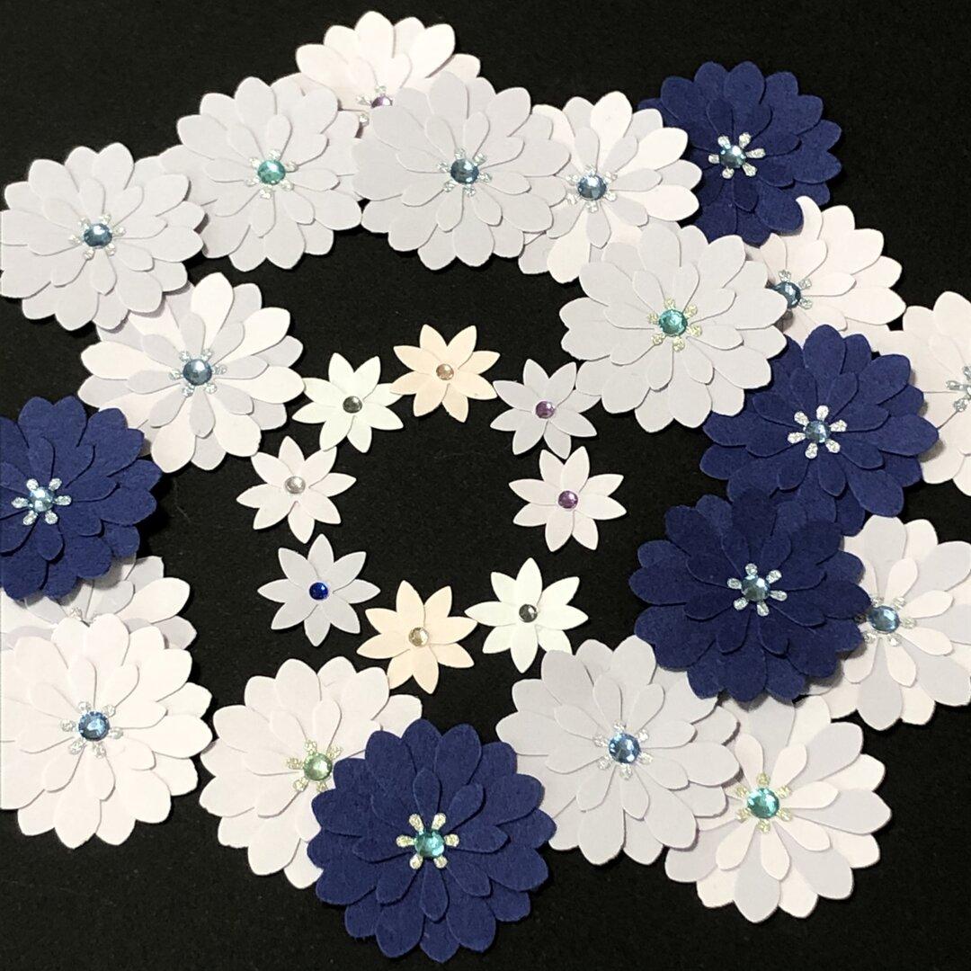 *送料込み*クラフトパンチ ブルー系フラワー 紫陽花カラー 大小計28枚