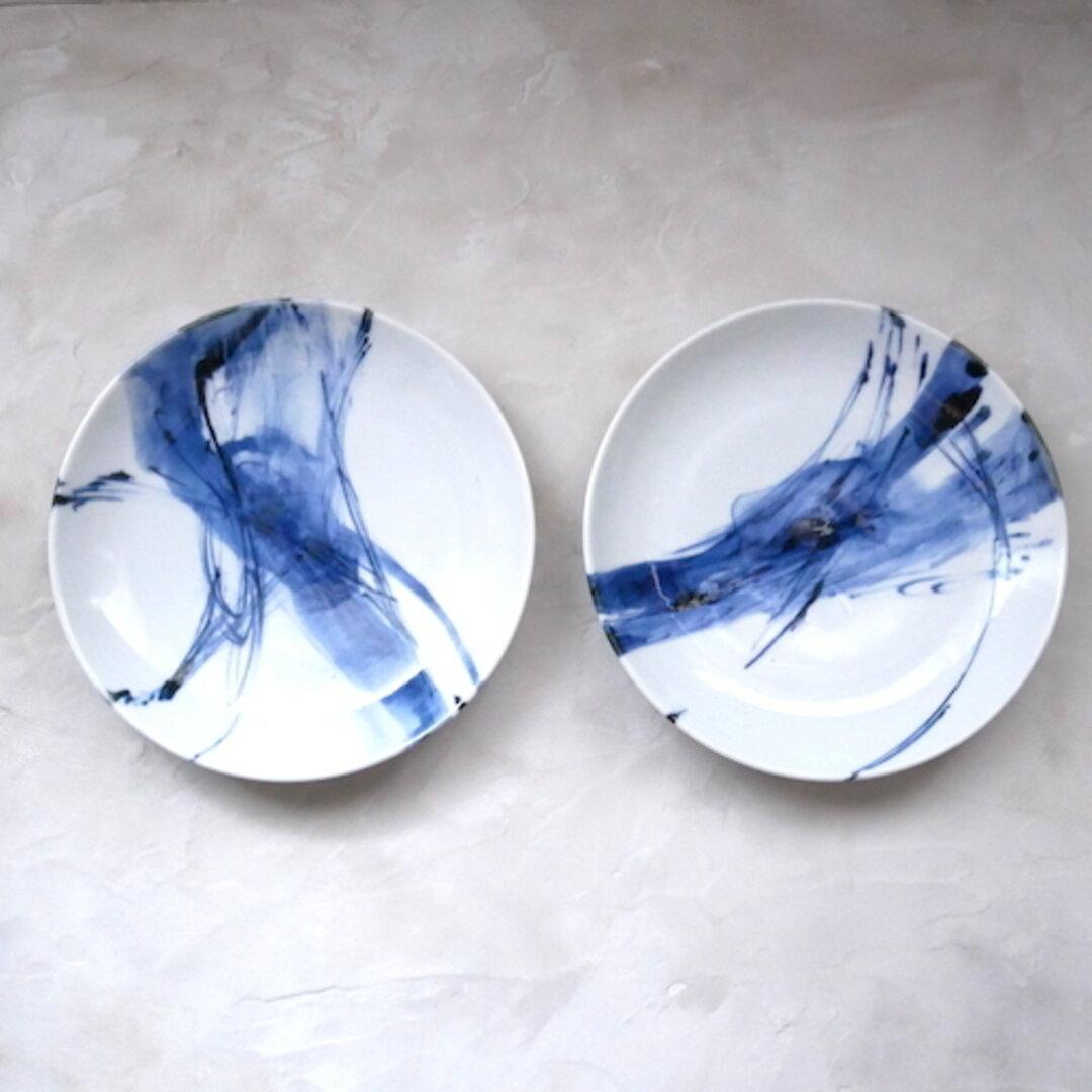 2枚セット うつわ 15cm 取り分け皿 和食器 九谷焼 器 染付 青 ブルー 抽象柄 no.015