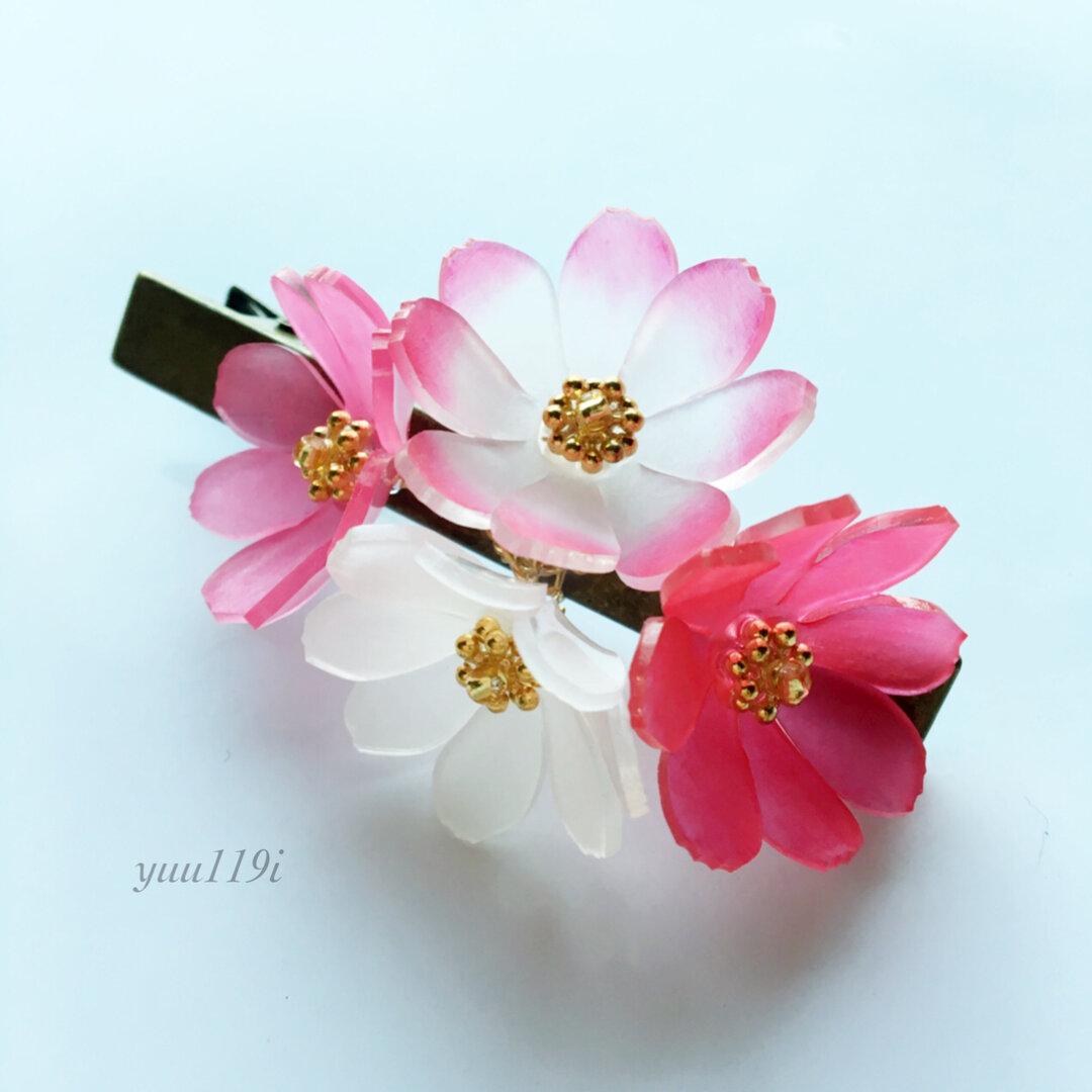 *秋桜のヘアクリップ*