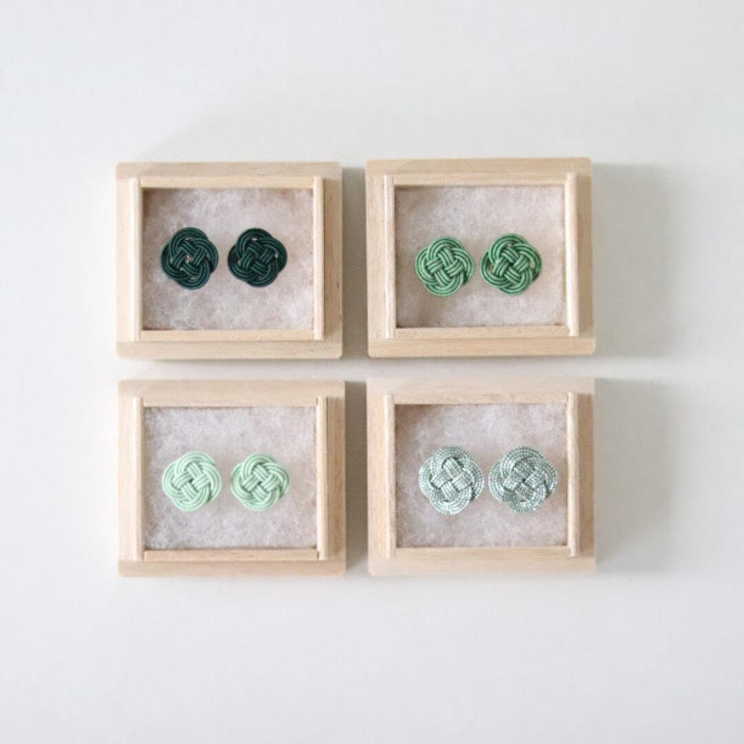菜の花結びの耳飾り 【翠の全四種】桐箱つき