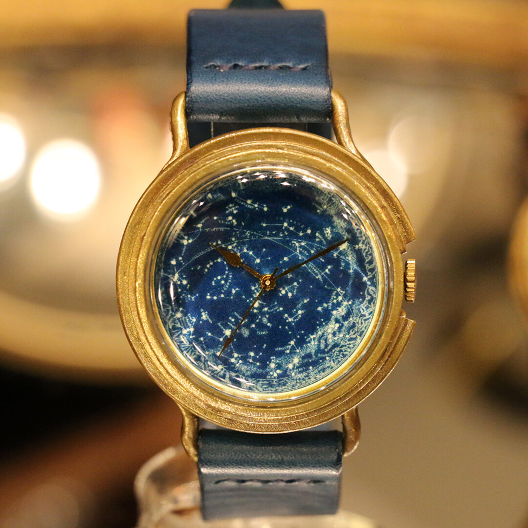 GENSO 天体観測 星空の腕時計 蓄光文字盤 Lサイズ 夜空 星 宇宙