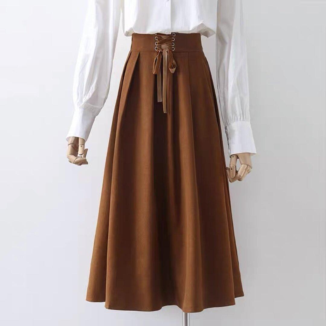 新品 大人っぽ上品なスカート  ロングスカート送料無料  裏地付 春秋 キャラメル 濃い緑 ブラック