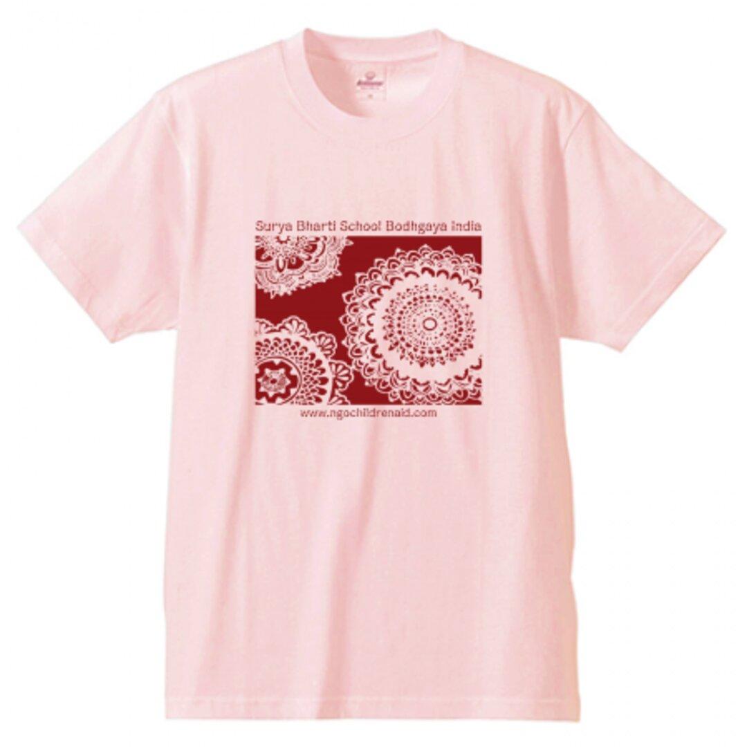 シワ二・クマーリちゃんデザイン「花」シルクスクリーン Tシャツ ベイビーピンク
