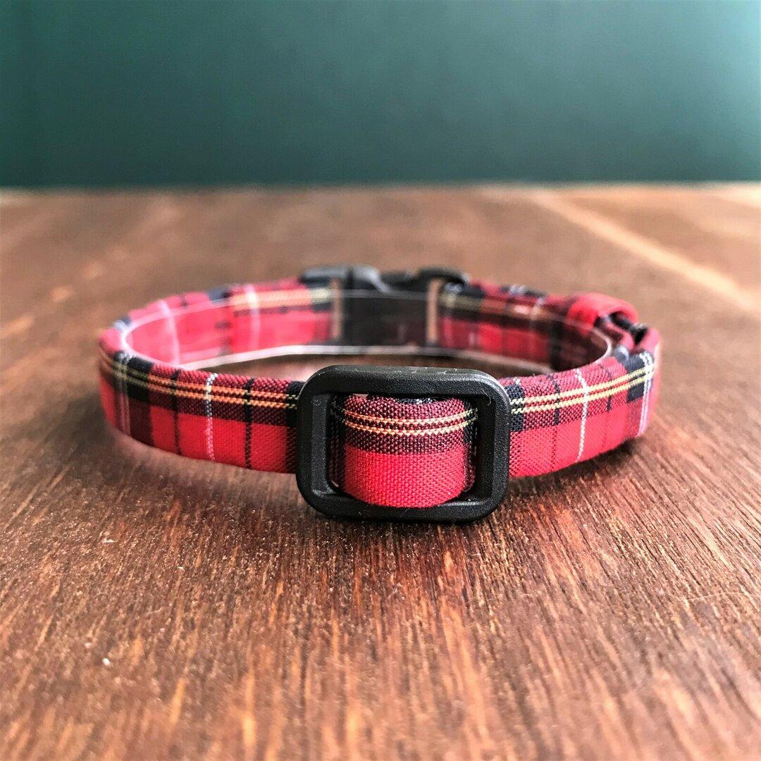 手縫いの猫用首輪●98タータンチェック/赤
