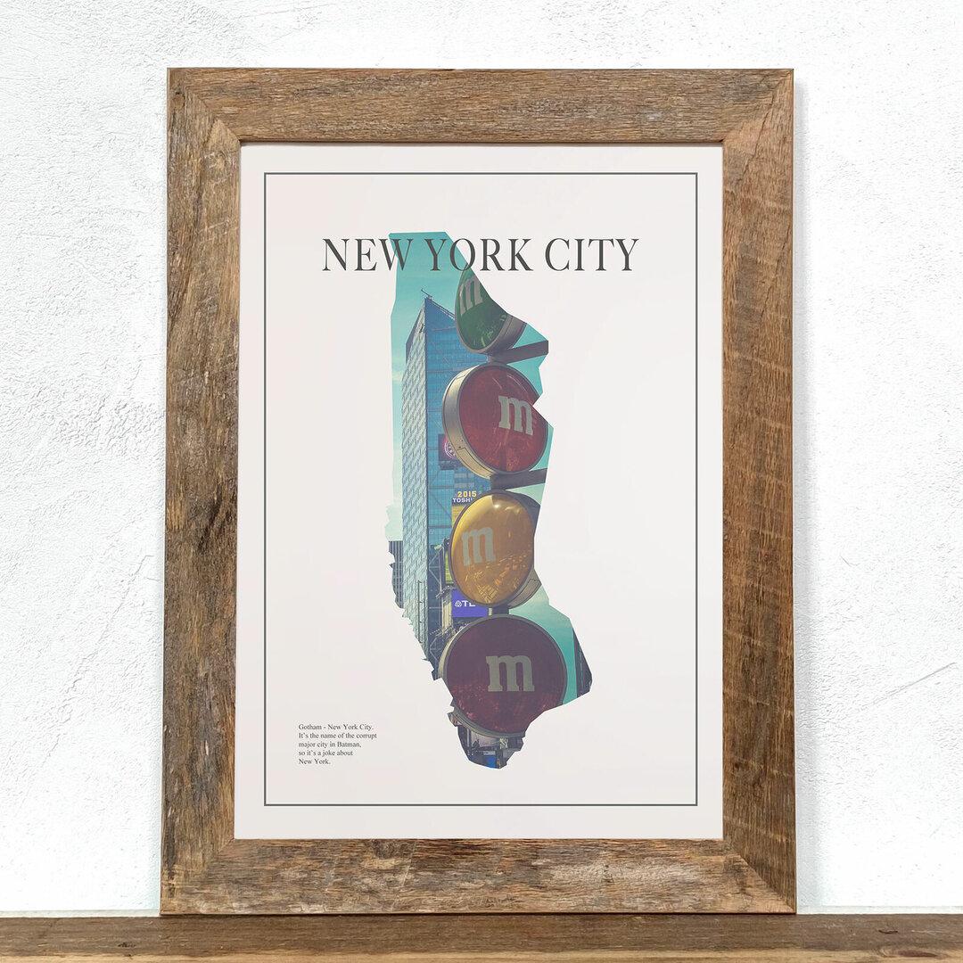 ニューヨーク Map2「グラフィック」  A4 プリント ポスター アート + 古材フレーム