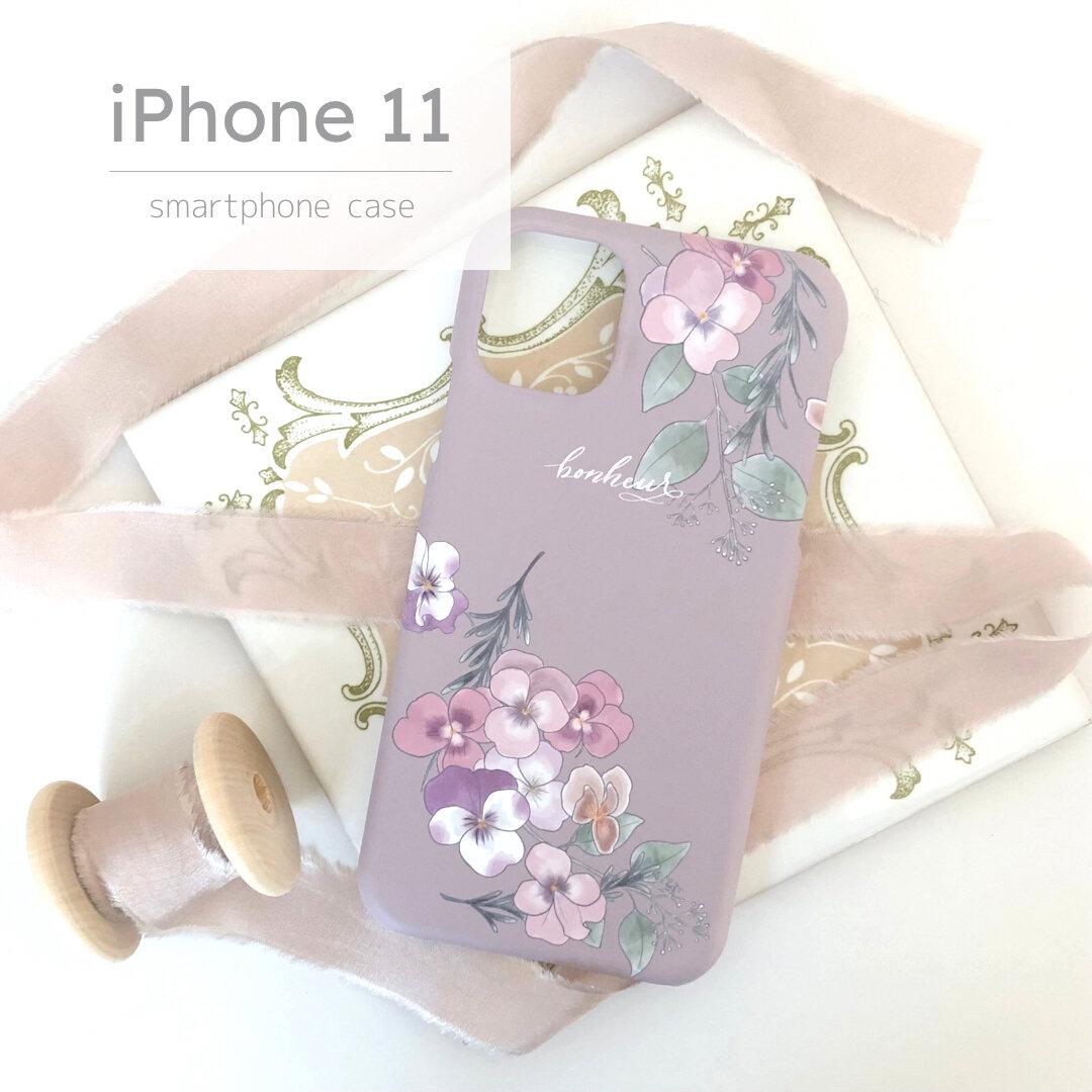 iPhone11用ハードケース パンジー×グレージュ