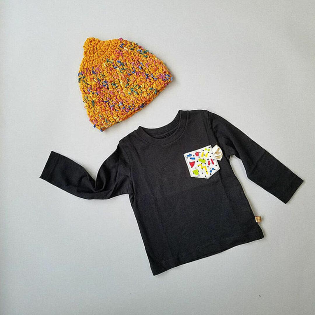 D37 とんがりニット帽子(ウールマスタードイエローpocopoco) ベビー帽子 キッズ帽子