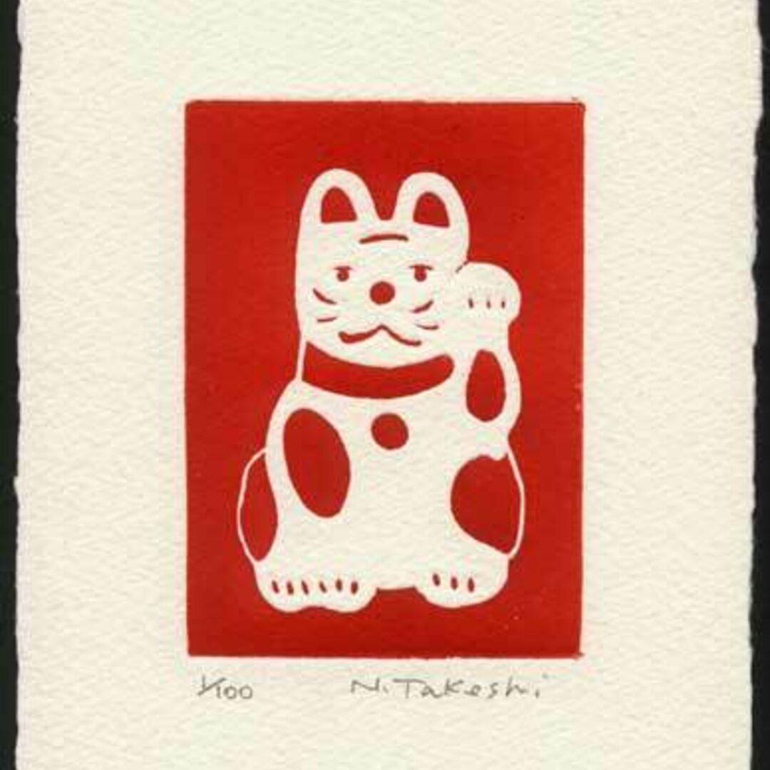招き猫・2018A/銅版画 (作品のみ)