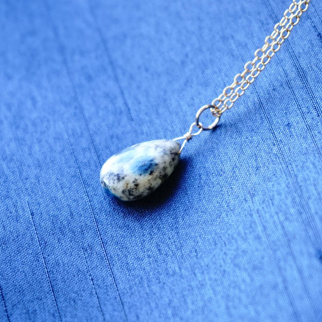 14kgf K2ブルー(K2アズライト)ペアシェイブ ネックレス ペンダント 天然石