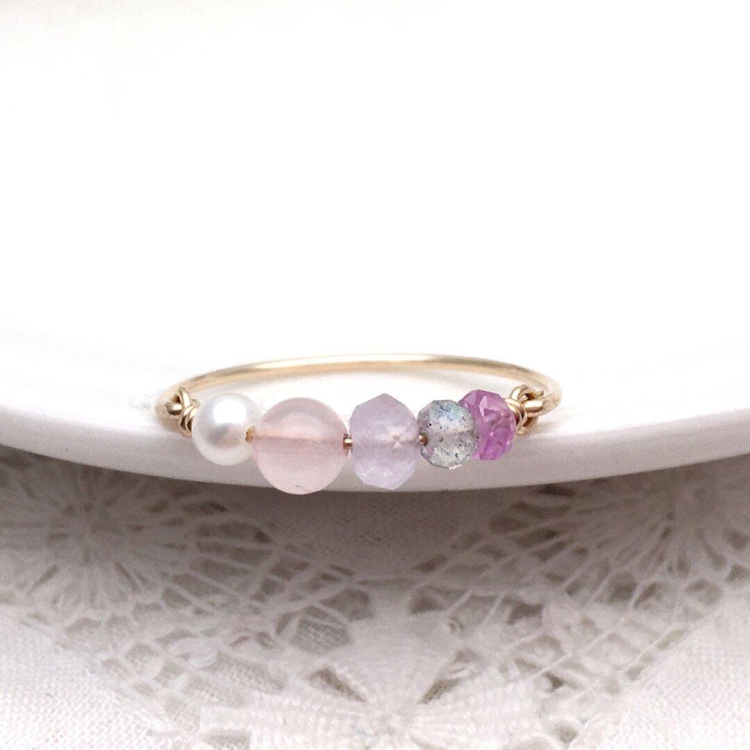 [14kgf]ピンクとパープルの宝石 ✳︎ 4種の天然石と淡水パールのワイヤーリング ピンク サファイヤ
