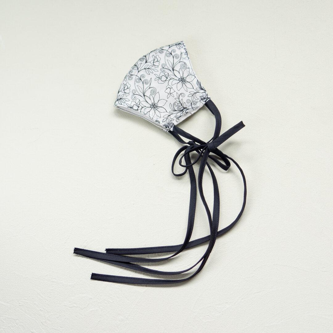 lace ribbon mask cover (clear black) レース リボン マスク カバー