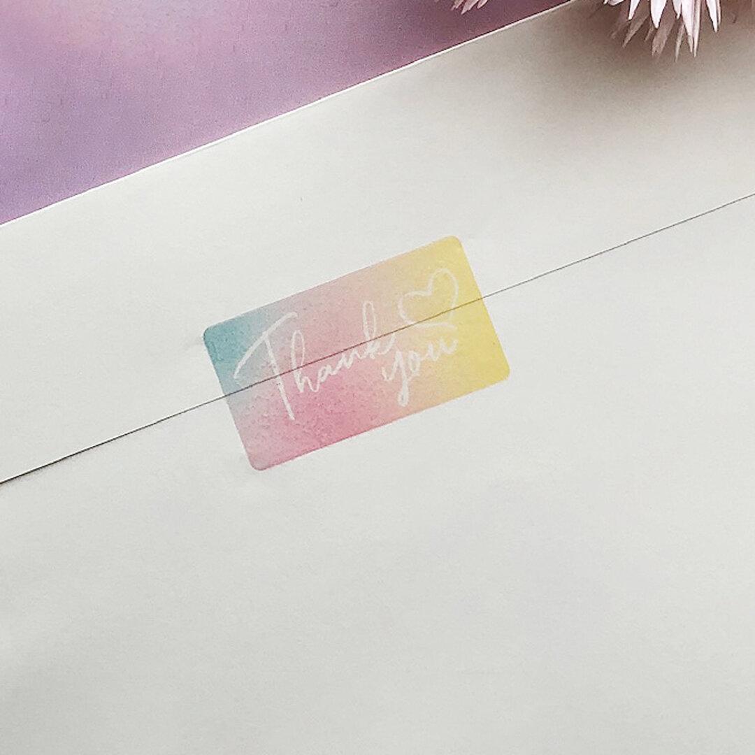65枚シアーシール(thank youシール) ①トロピカルカラー