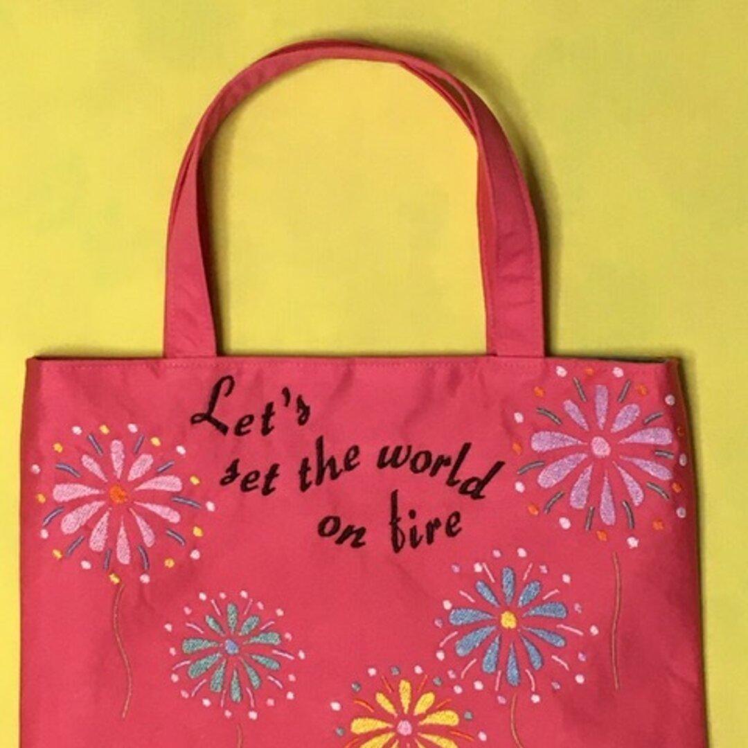 花火刺繍のミニトートバッグ Pink ver.