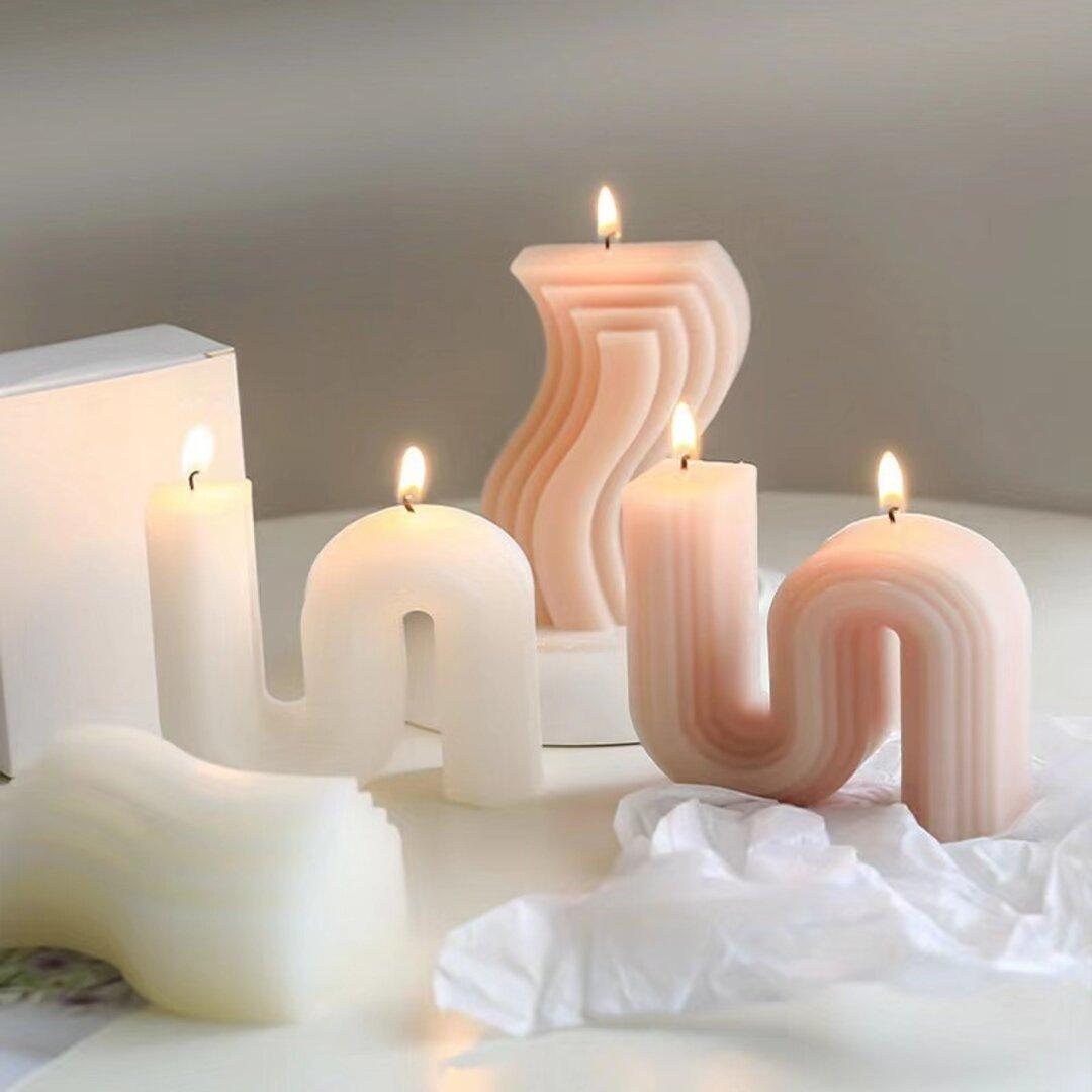 1p Nart Candle  北欧風幾何S字ラインのモールド シリコンモールド キャンドルモールド 北欧 幾何