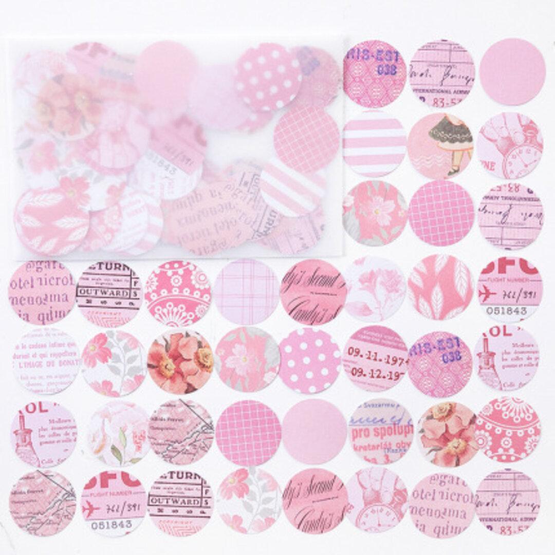 ビンテージ ピンク系 英語 お花の丸いフレークシール 100枚
