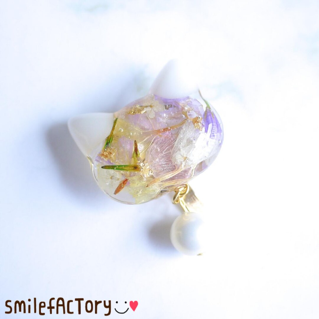 Flower White Cat〜ポニーフックver.〜