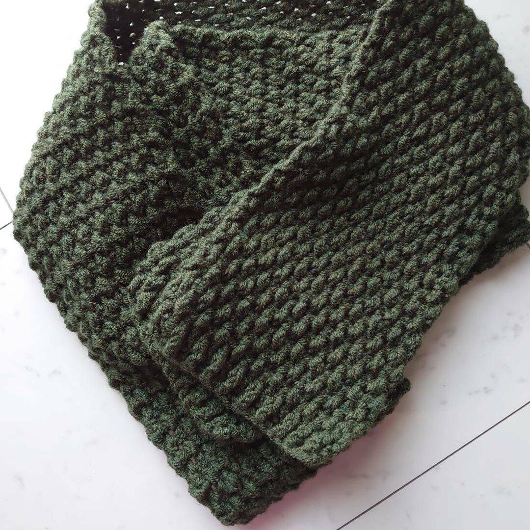 マフラー 手編み 毛糸 カーキ