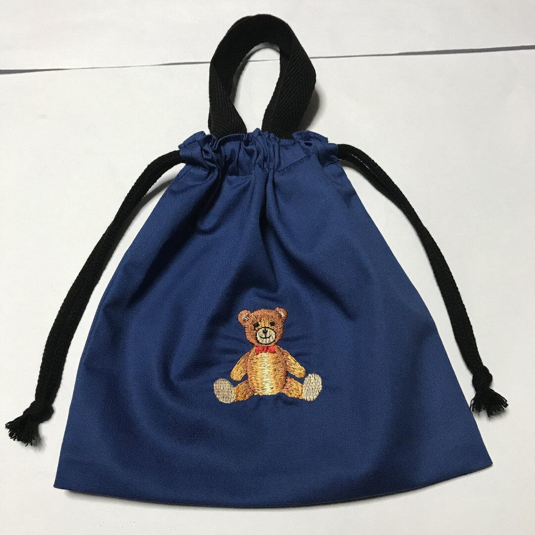 大人気かわいいクマの刺繍入り持ち手付き給食袋☆クマ⑬