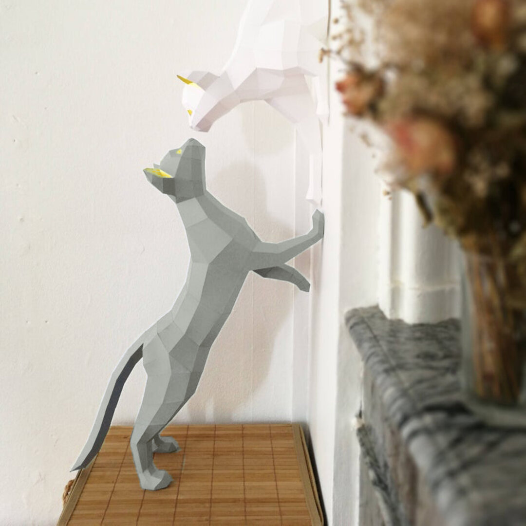 【壁掛けインテリア】キスをする猫 DIY 動物 ペーパークラフト