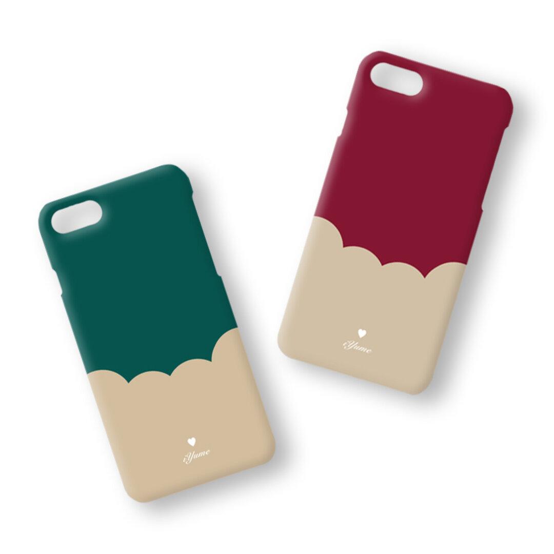 【特集掲載】バイカラー*ベージュ 名入れ ハードケース iPhone12Pro 12 XR X 8 8Plus 7 7Plus Xperia Galaxy ARROWS スマホケース