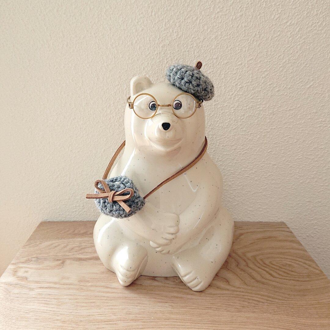しろくま貯金箱 しろくま君の冬支度☃・.。*  ベレー帽とニットbagのセット (グレー)