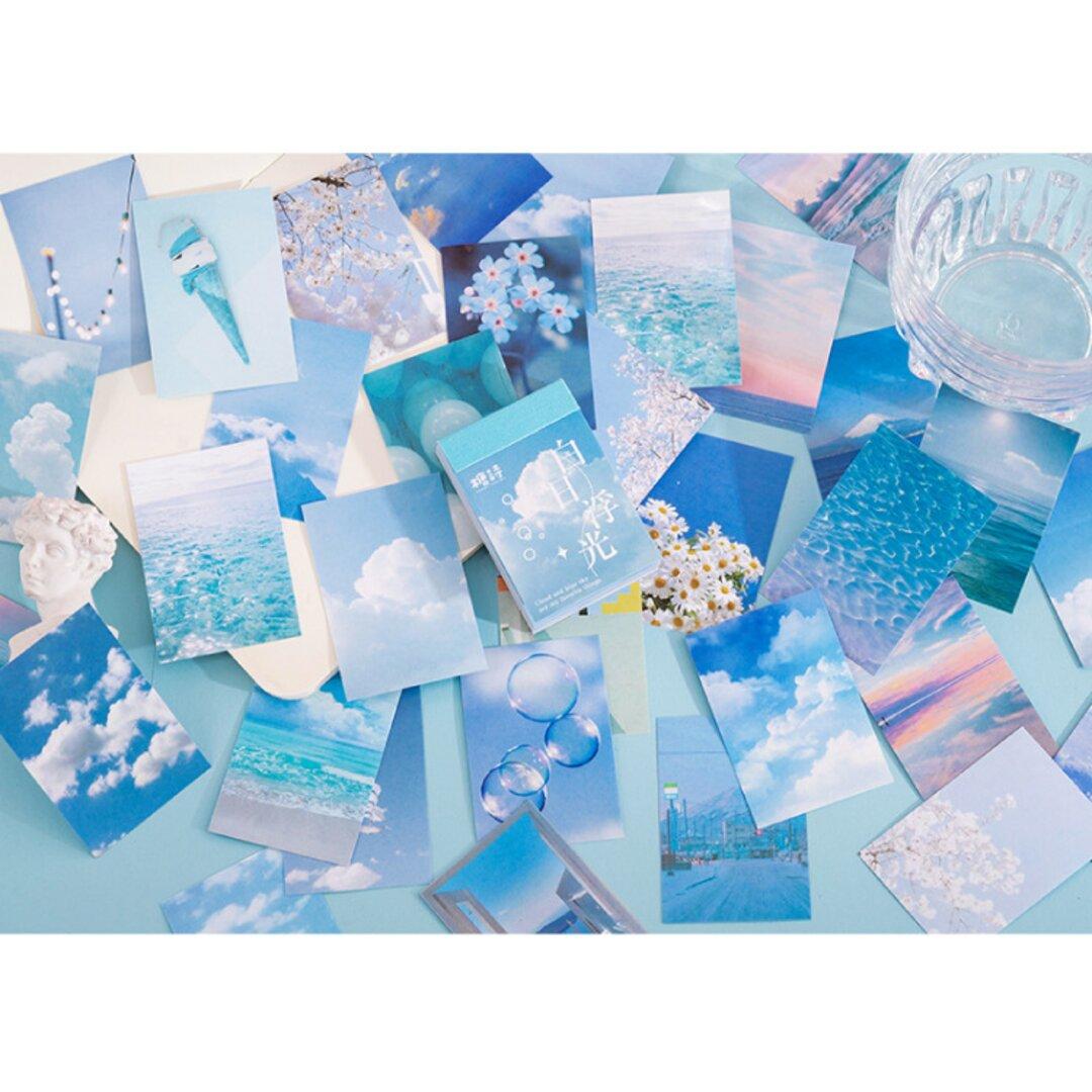 豆本風シール 青空 50枚 和紙 写真 コラージュ Vol.1