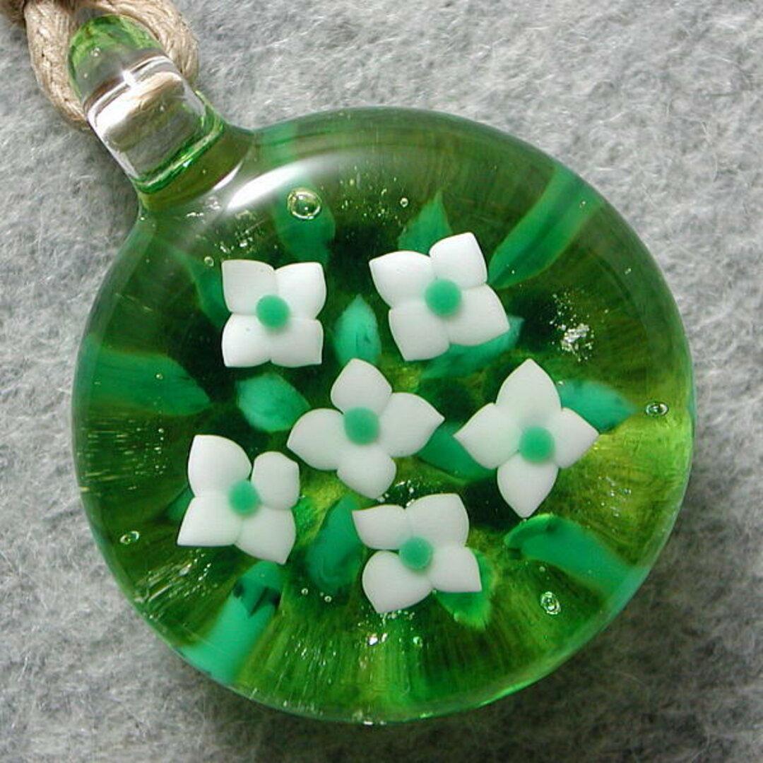 平玉・ヤマボウシ咲く とんぼ玉 ガラス ネックレス No1923