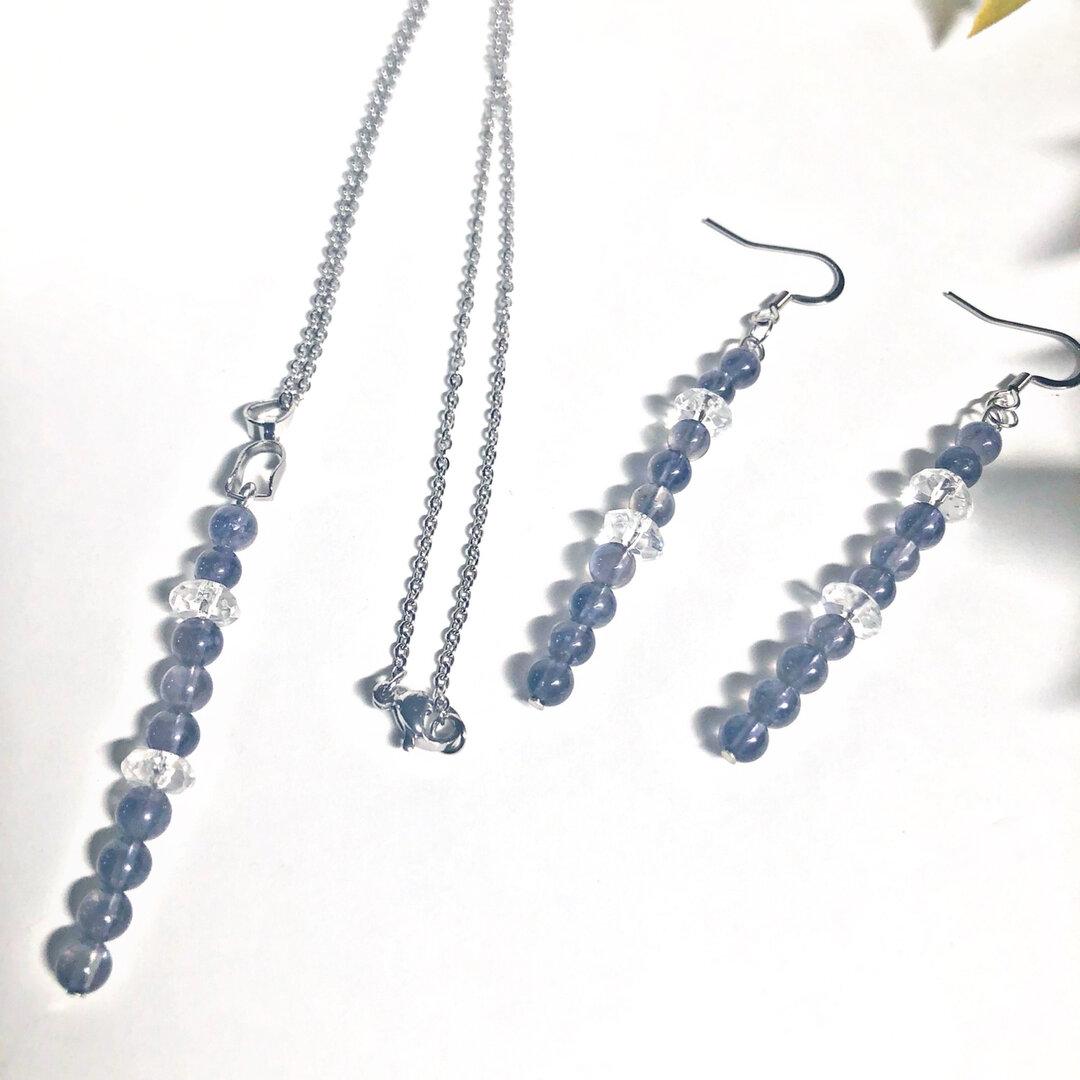 SET(金アレ対応)9月誕生石 アイオライトと水晶のネックレス&ピアスorイヤリング