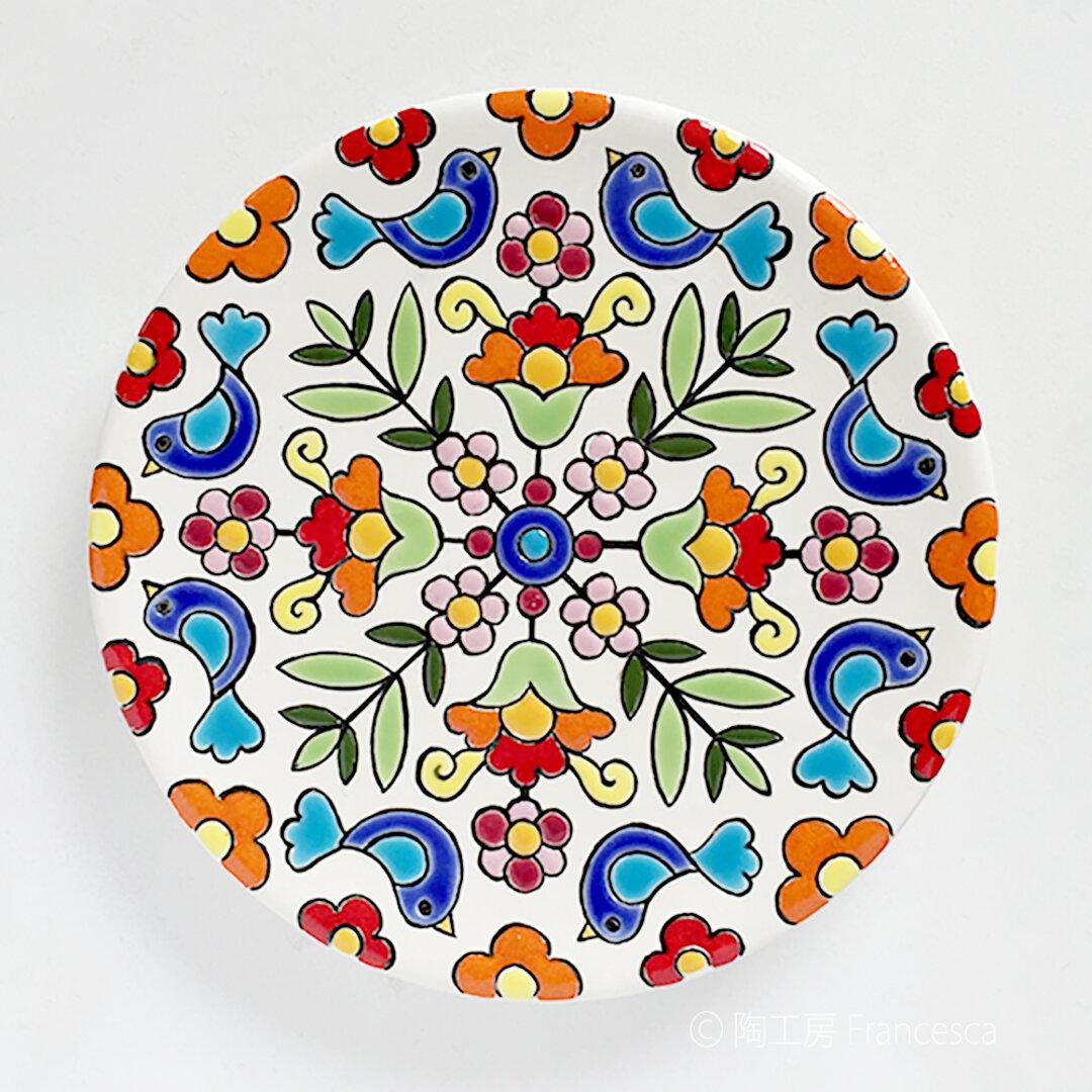 スペインタイルアート:花と鳥の飾り皿A