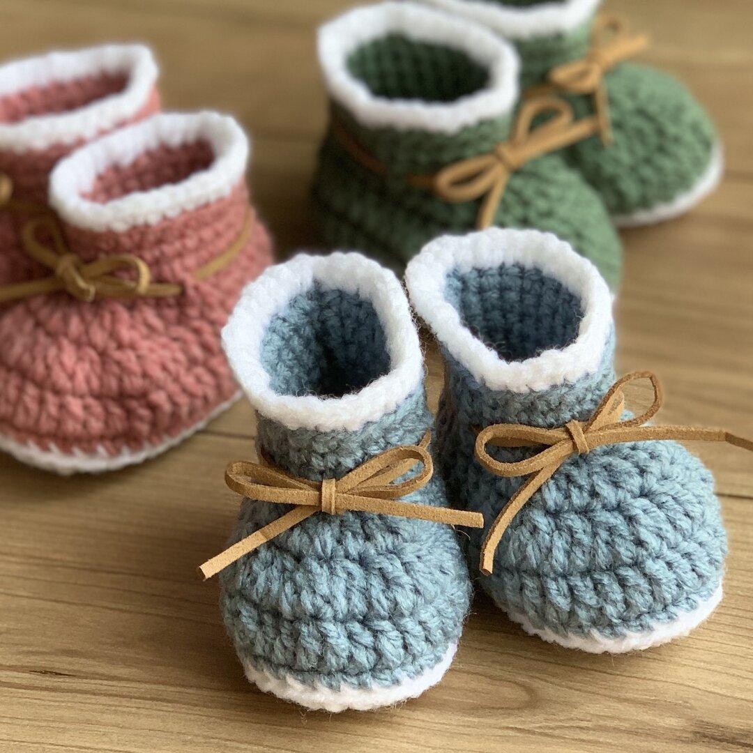 手編み ベビーブーツ シューズ 出産祝い 新生児 ベビー用品 ブルー