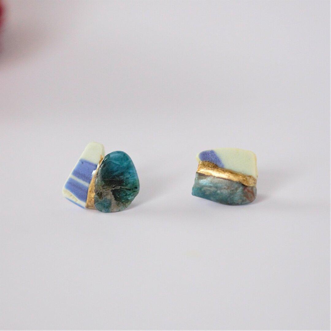 金継ぎx天然石 ピアス  イヤリング(シー陶器、アパタイト)