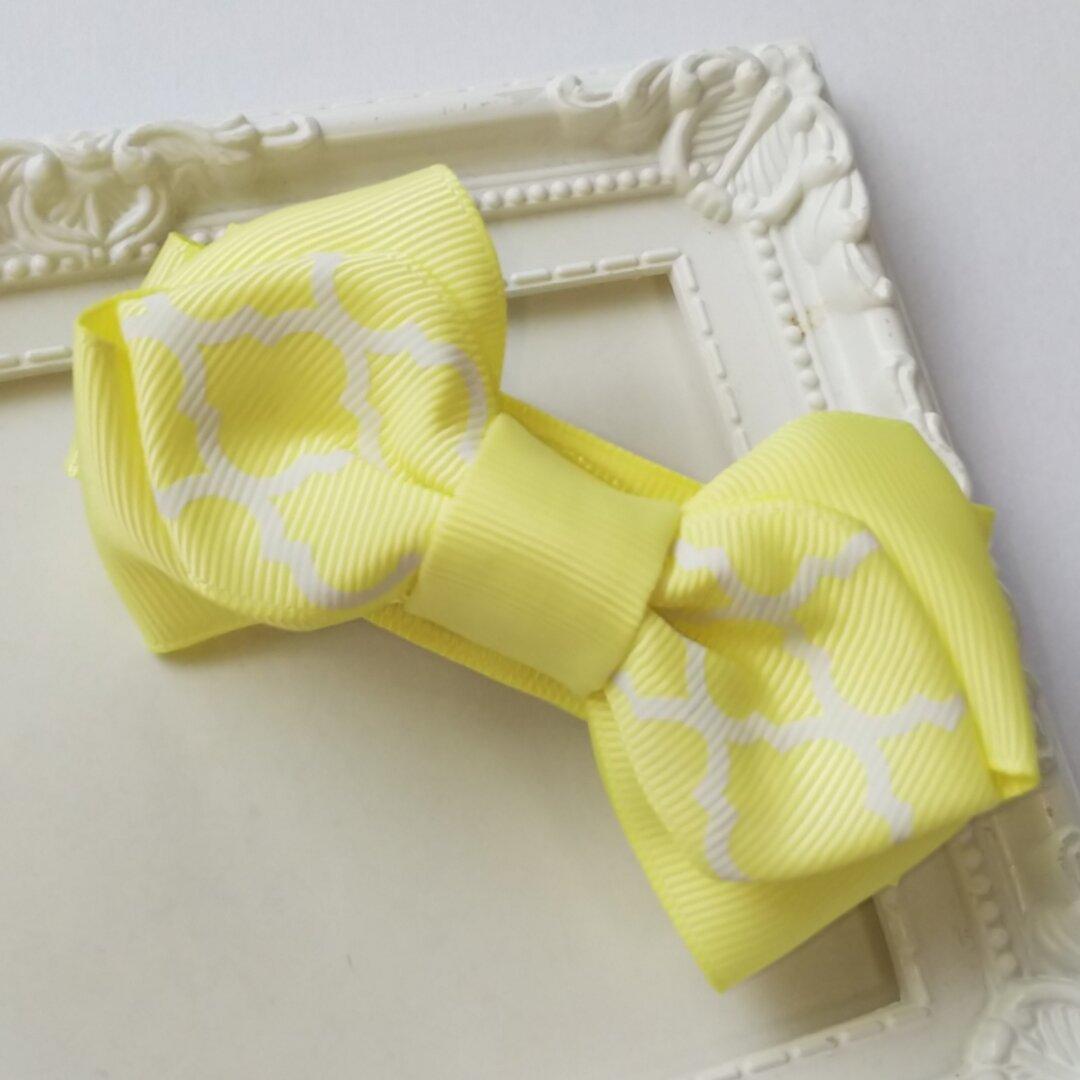 ≪送料無料≫黄色モロッカンリボンのバレッタ
