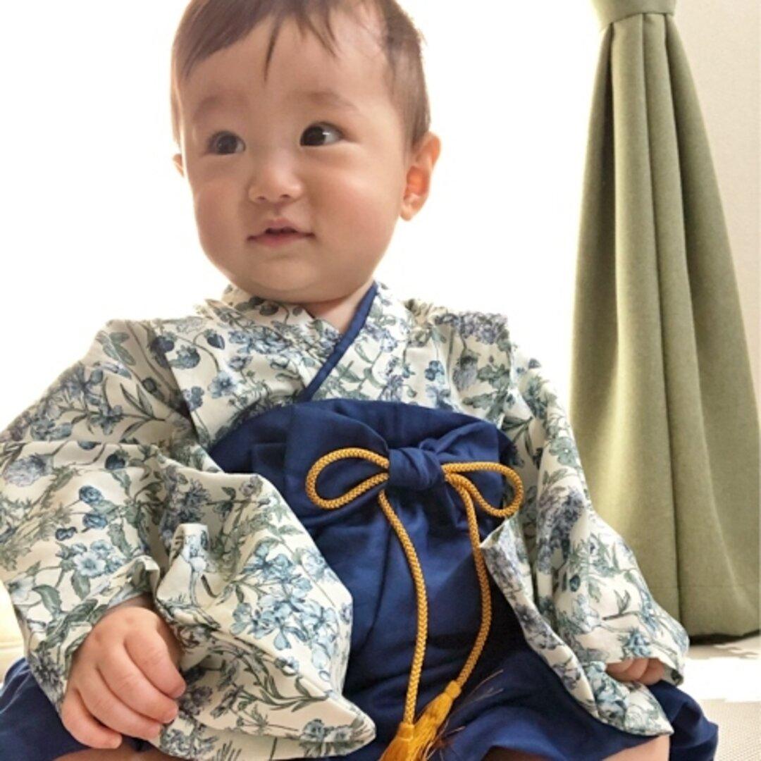 70/ランクイン作品○*ふうせん袴(青藍)*イングリッシュガーデン着物✧˖°⌖꙳✧˖°ベビー袴/男の子