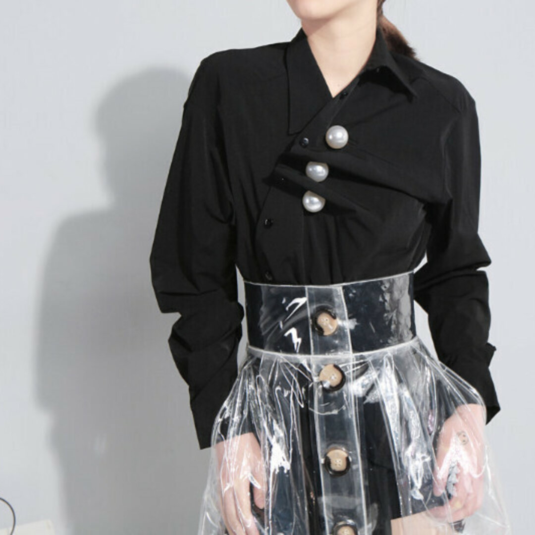 春と秋の新しいスタイル、自作のニッチモデル、大きなパールプリーツシャツを着る2つの方法