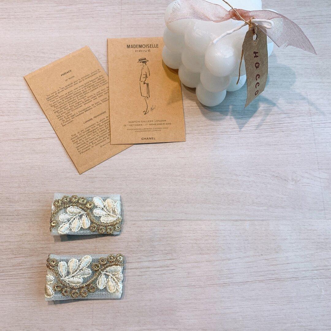 2コセット♡ 刺繍 ヘアクリップ インド刺繍 ホワイト ヘアピン 刺繍リボン