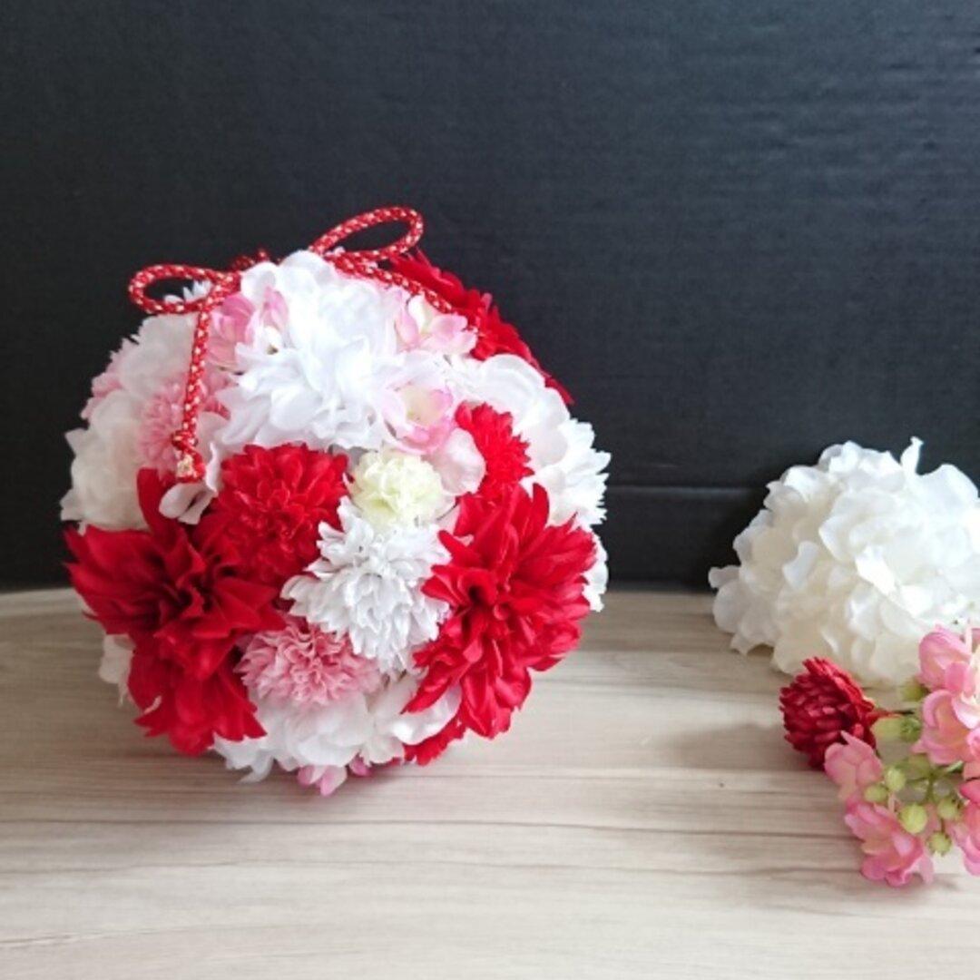 【受注生産】ウェディング和装ボールブーケ~レッド~ 髪飾りも製作可能です