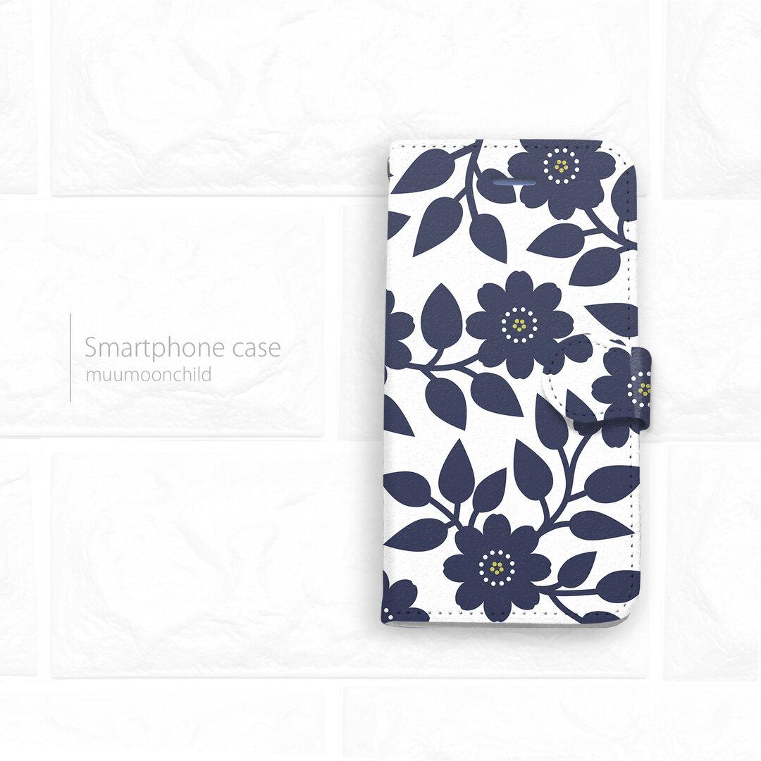 手帳型スマホケース BLUE FLOWERS 【受注生産】