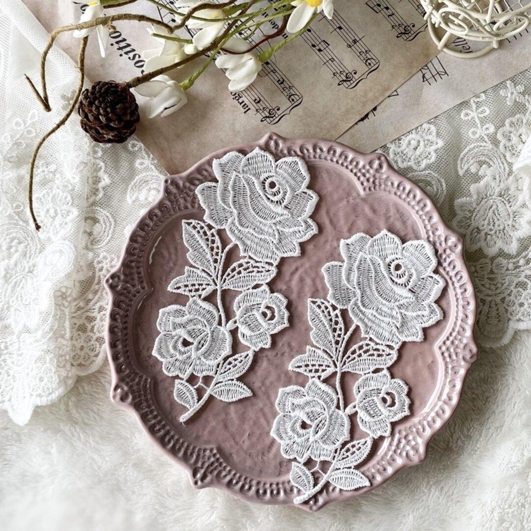 1枚 綺麗 花 フラワー 刺繍 ケミカルレース モチーフ アップリケ 白 BK210922 ハンドメイド 手芸 素材