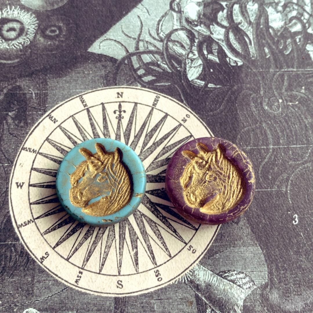 レア【2コセット】JIRI*IVANA#czech beads#チェコビーズ unicorn🦄23㎜ daydream(light purple)*turquoise/bronze