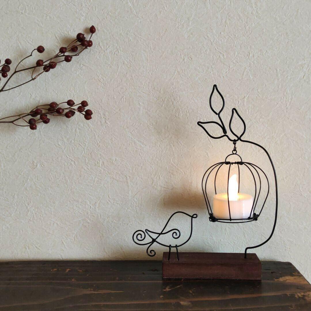 小枝ランプ 小鳥 ワイヤークラフト ワイヤーアート