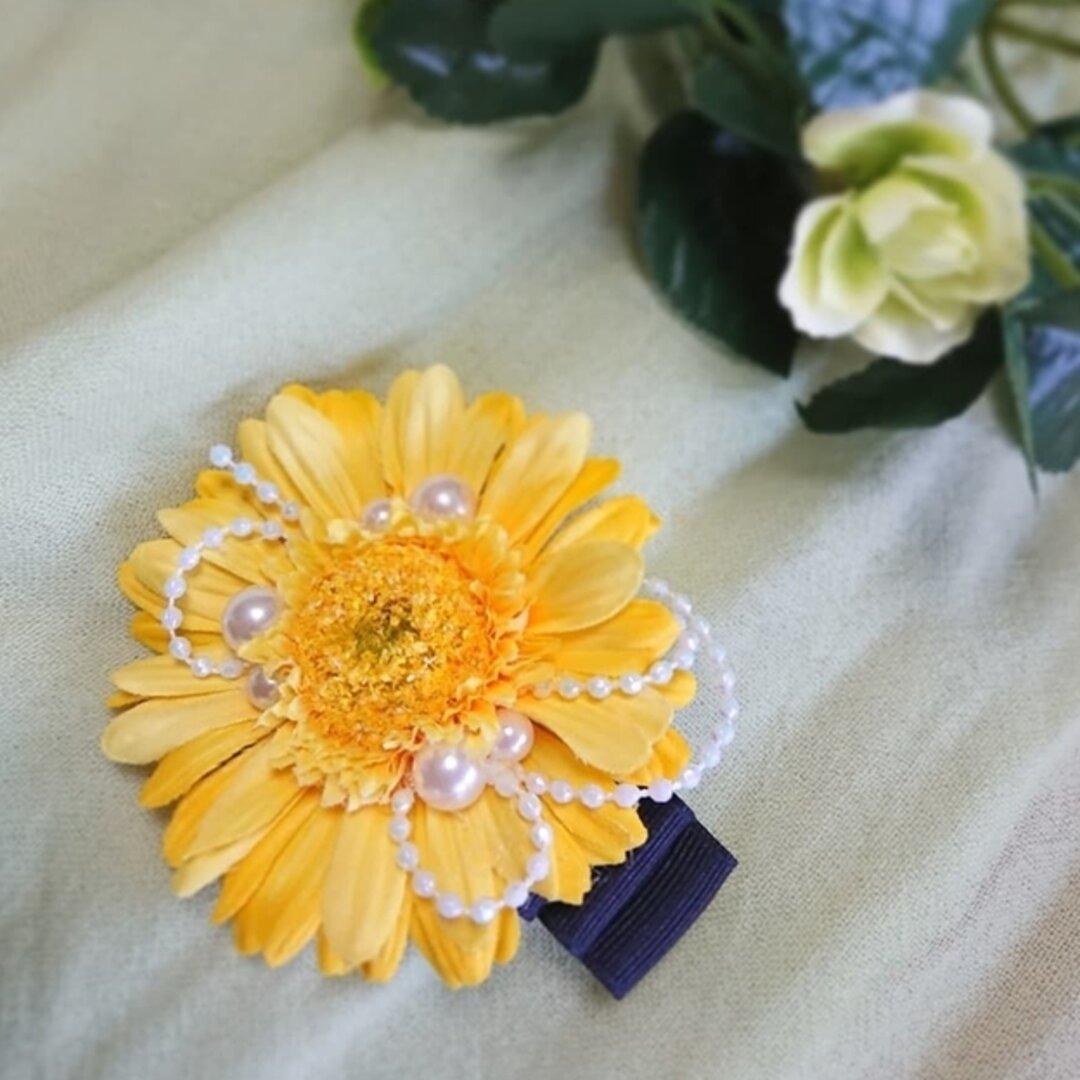 黄色いガーベラの花&パールのヘアクリップ…一点もの♪