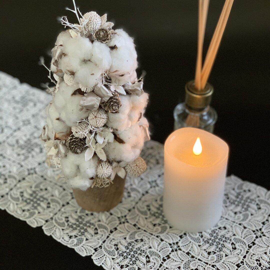 ワタの実のホワイトツリー クリスマスツリー 玄関 リビング クリスマス クリスマスプレゼント インテリア