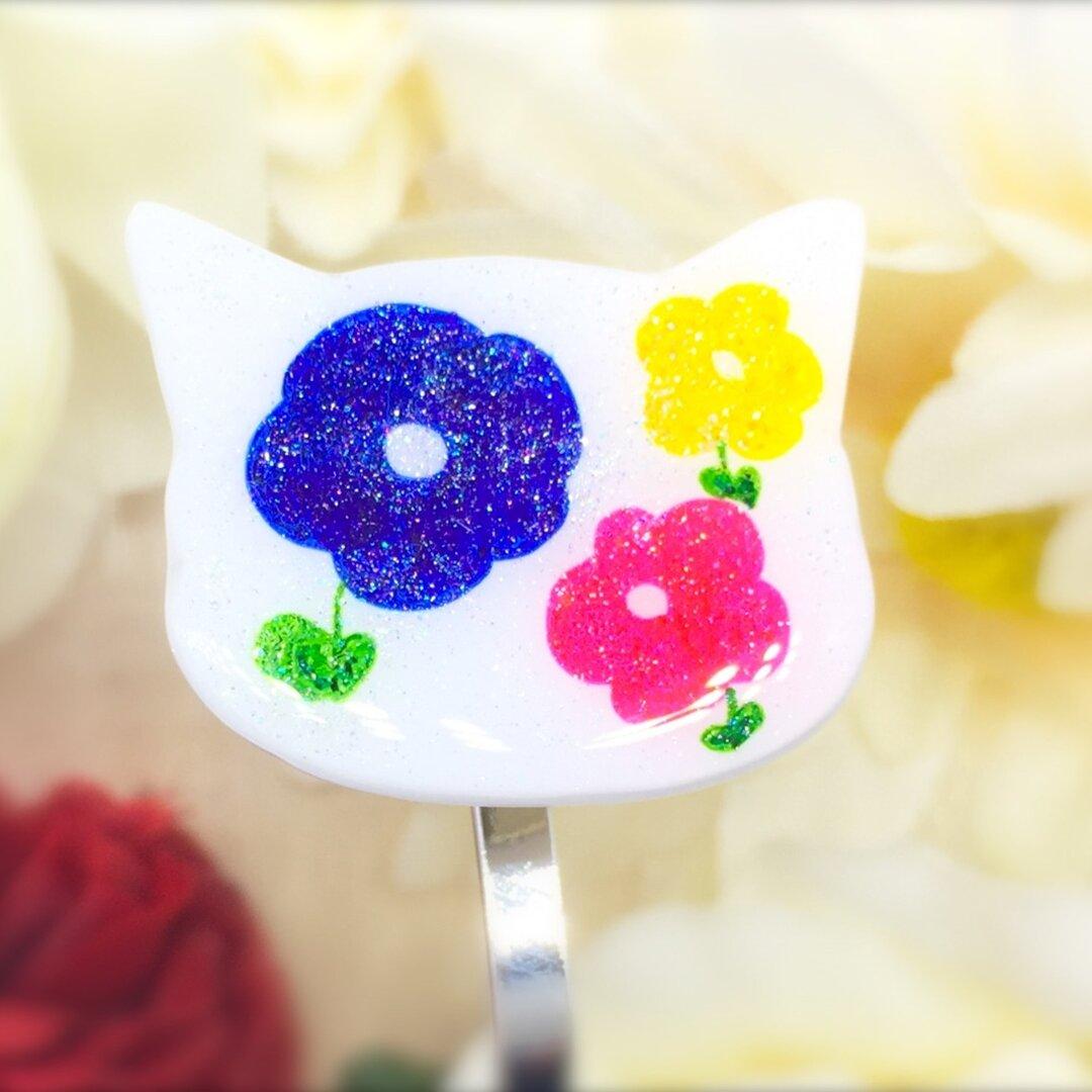 花柄*ポニーフック/猫