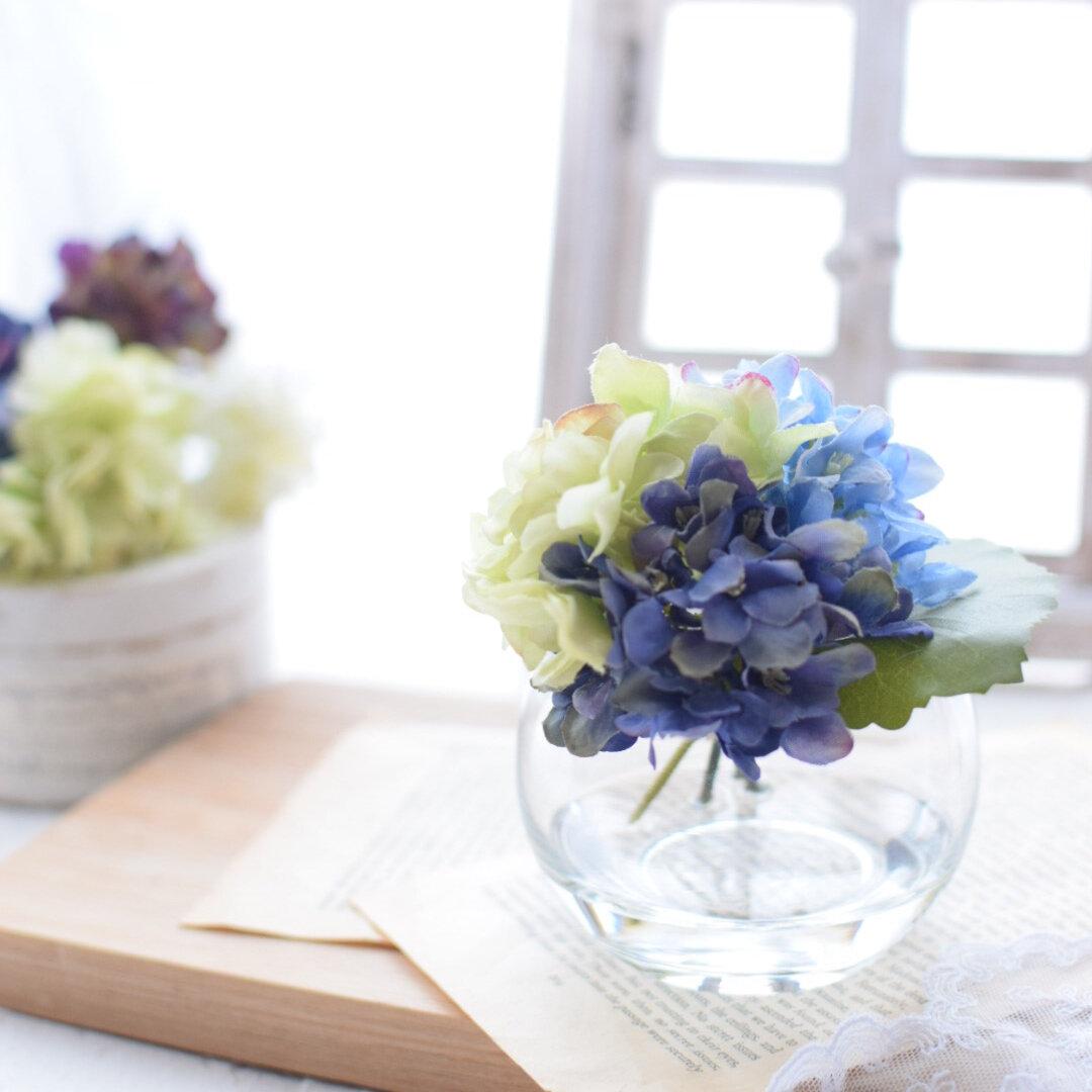 枯れない♡こぼれない魔法の水·アジサイのマジカルウォーターアレンジメント~blue