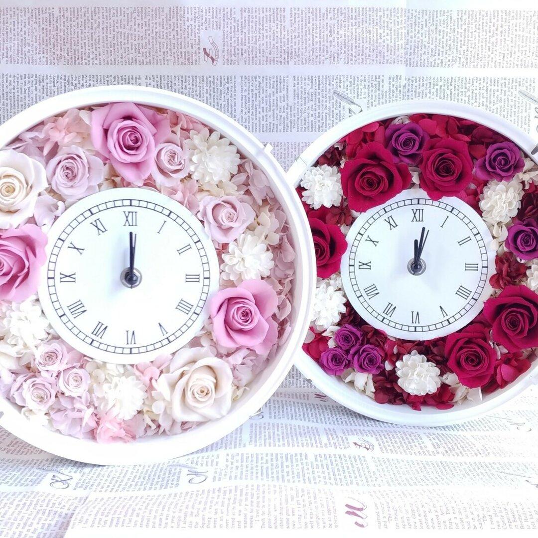 無料ラッピング付*花時計*結婚・誕生日・お店のオープンなど各種ギフトにも*プリザープドフラワー花時計
