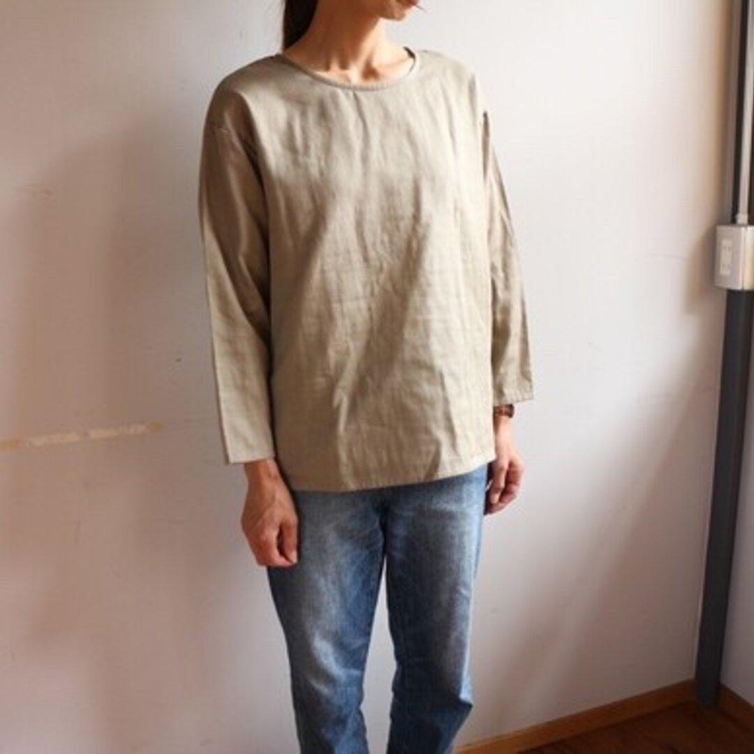 【ダブルガーゼ長袖ブラウス】ふわふわコットンダブルガーゼのシンプルなブラウス Tシャツ トップス グレージュ 秋色くすみカラー